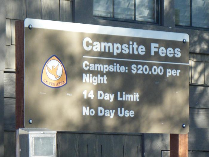 Horse Creek Campground fee Sign Fee Sign located at the Fee Building/Registration area,  Horse Creek Campground