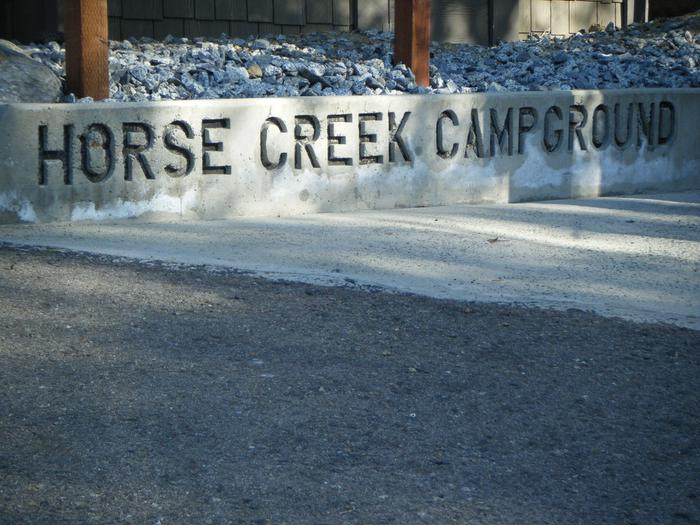Horse Creek Campground signCampground sign in front of Fee Building/Registration.