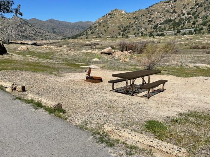 Site area.Picnic table and fire ring at campsite.