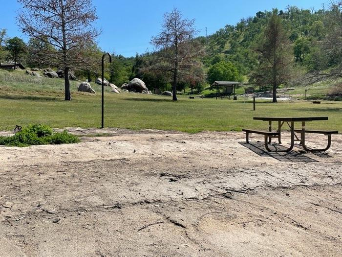 Open campsite area with slight grade. Site area includes fire ring, lantern hook, and picnic table.