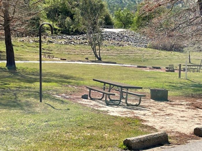 Site area.Site area includes picnic table, fire ring, and lantern hook.