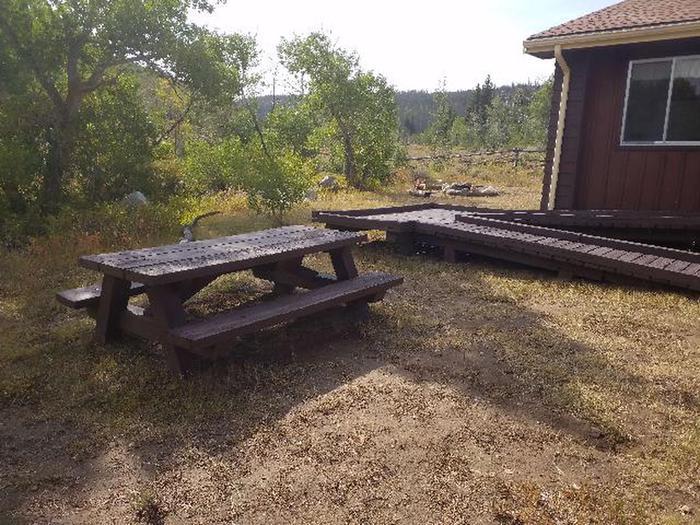 Bow River Ranger Station OutsideBow River Ranger Station picnic table