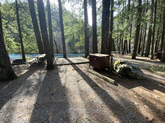 Campsite containing a picnic table, tent pad, and campfire ring.View of campsite.