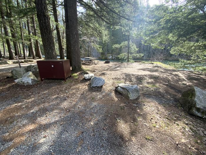 Campsite containing a bear box, picnic table, and tent pad.View of campsite.