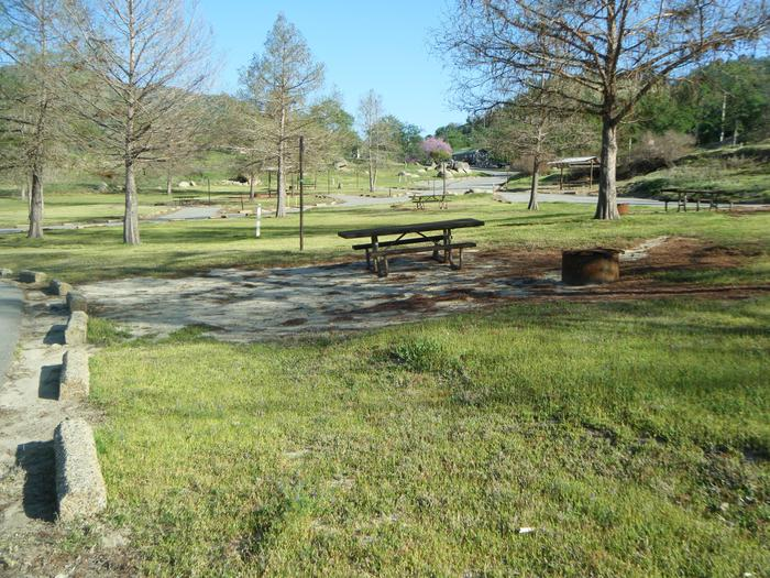 Campsite area is in a circle with four other sitesCampsite pad has campfire ring, table and lantern hook/post.