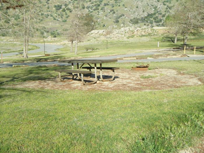 Open campsite in a circle with three other sites. No shade at this site. Small tent or family tent for 8. Springtime photo of the campsite. Campsite has seasonal views of Lake Kaweah.  Campsite has pull through parking, table, campfire ring and lantern post/hook. It is located on a corner.