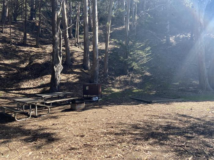 Picnic tables, food locker, and tent pad at Site 1.One of two tent pads at Site 1.