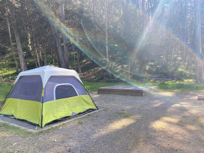 Two tent pads. The tent pad that is not raised has a tent, and the tent pad that is raised is empty.Site 5