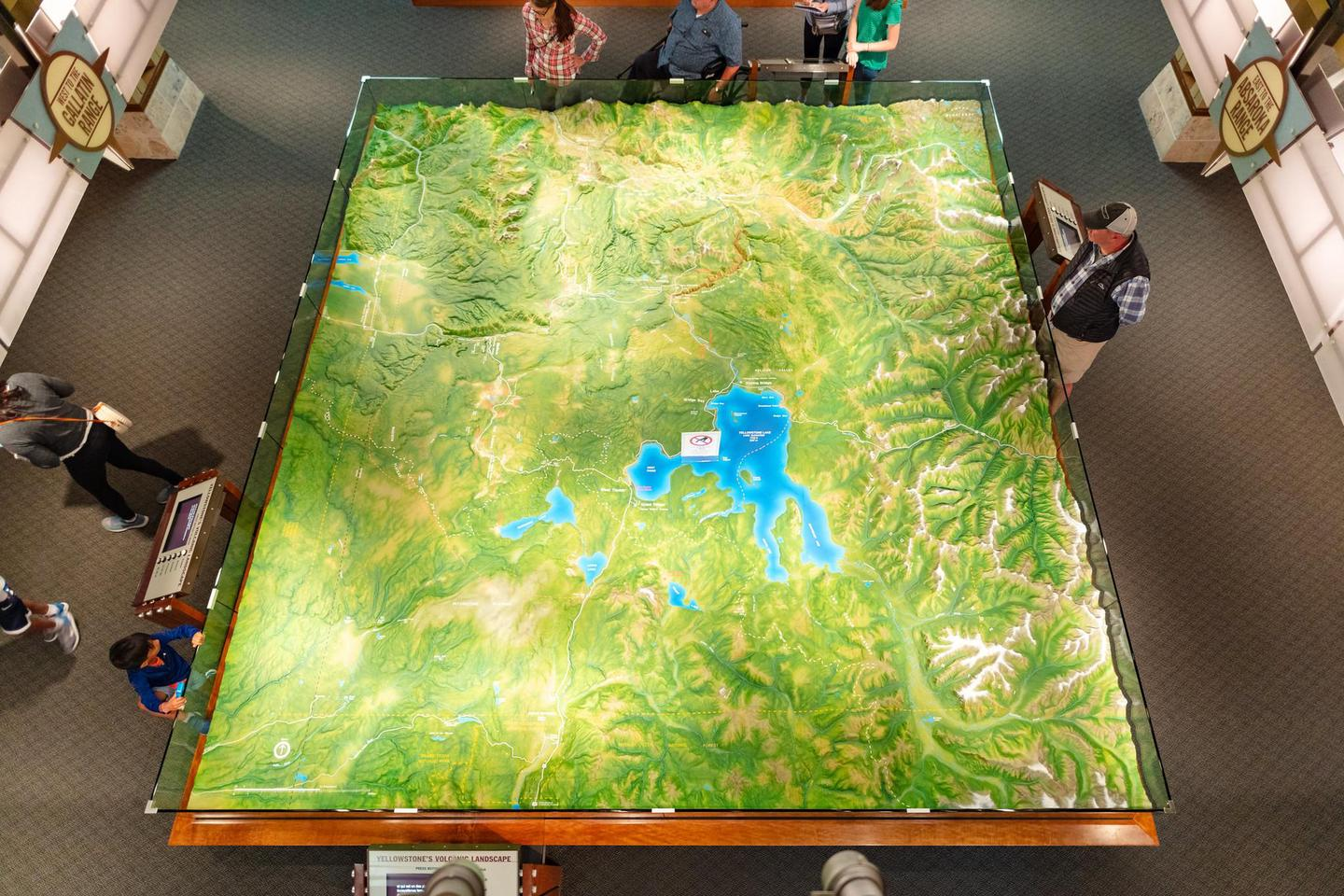 Canyon VEC Relief MapThe large relief map in Canyon Visitor Education Center gives visitors a way to comprehend the landforms of Yellowstone.