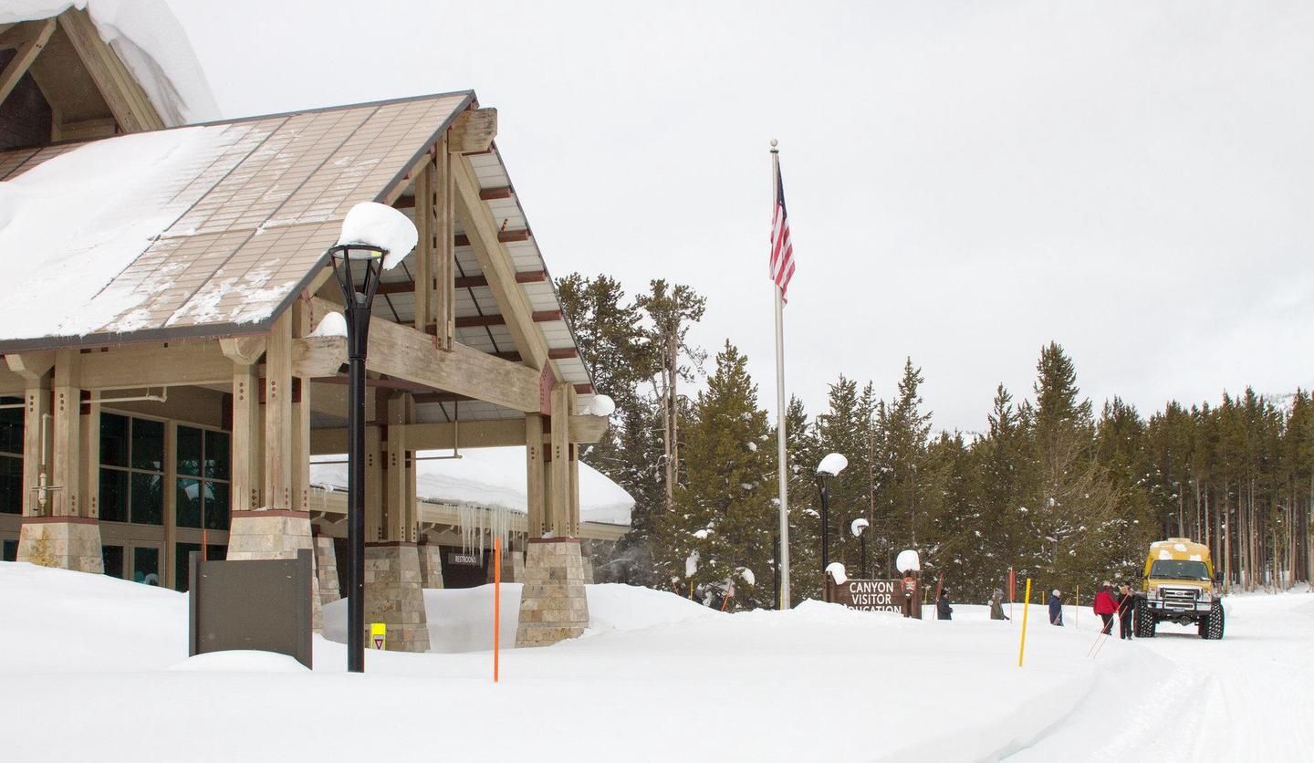Canyon Visitor Education Center in winter.The lobby and restrooms of Canyon Visitor Education Center are open in the winter.