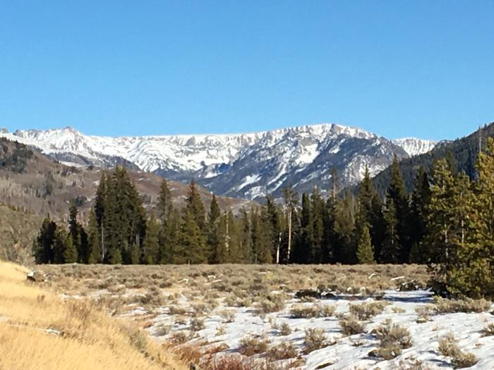 View of Mount Zirkel Wilderness Area early winter on drive to Seedhouse Group Site