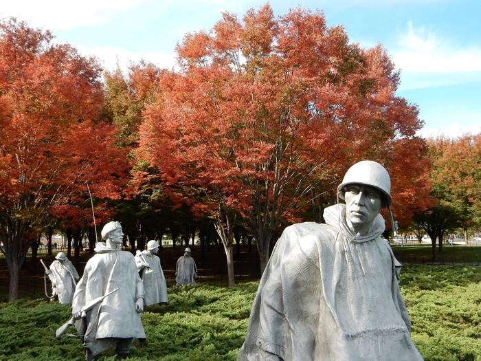 Korean War Veterans MemorialThe Korean War Veterans Memorial with fall foliage