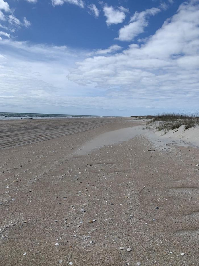 South Core Banks -- open beach for campingWhere would you like to camp?  This wide beach allows for dispersed camping seaward of the dunes along its length.