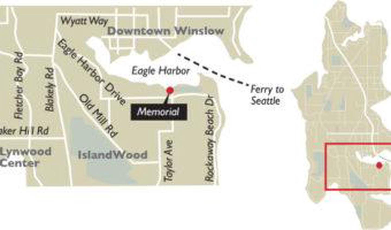 Map to Bainbridge Island Japanese American Exclusion Memorial.