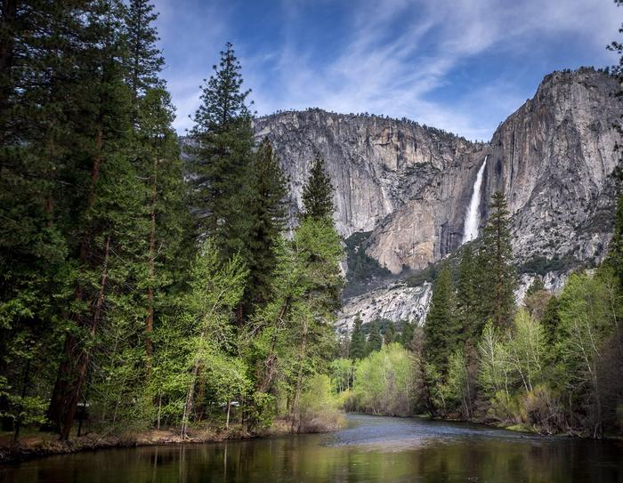 Upper Yosemite Fall and Merced River in spring