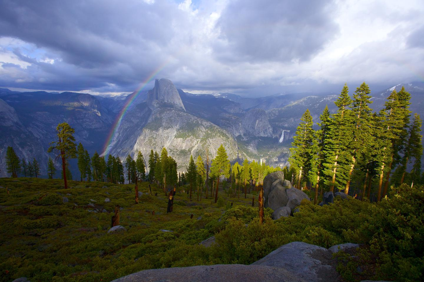 Rainbow over Half DomeA hike up to Sentinel Dome rewards people with great views of the landscape around them.