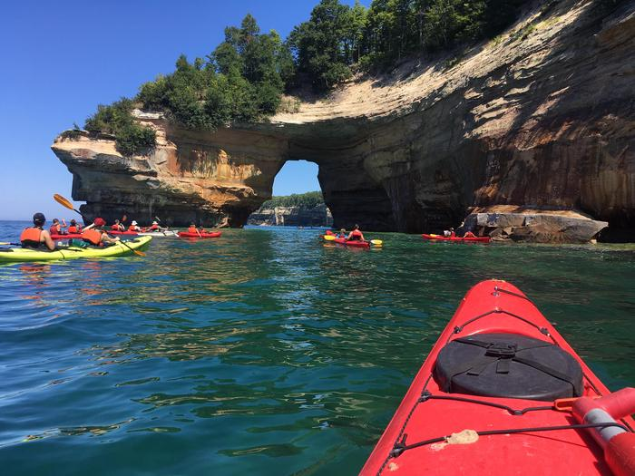 Kayaking Along the Pictured Rocks CliffsKayakers near Lovers Leap