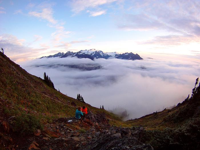 Mountain SunsetBackpackers stop to enjoy a spectacular sunset in Olympic's high country.