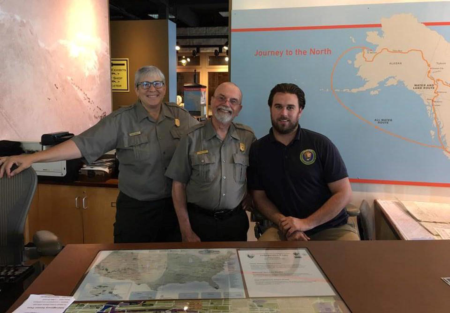 Rangers and volunteers are available to answer questions during open hours.Visitor Center Desk Staff