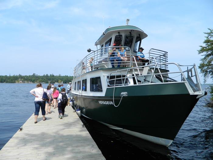 Little American IslandVoyageur tour boat docked at Little American Island