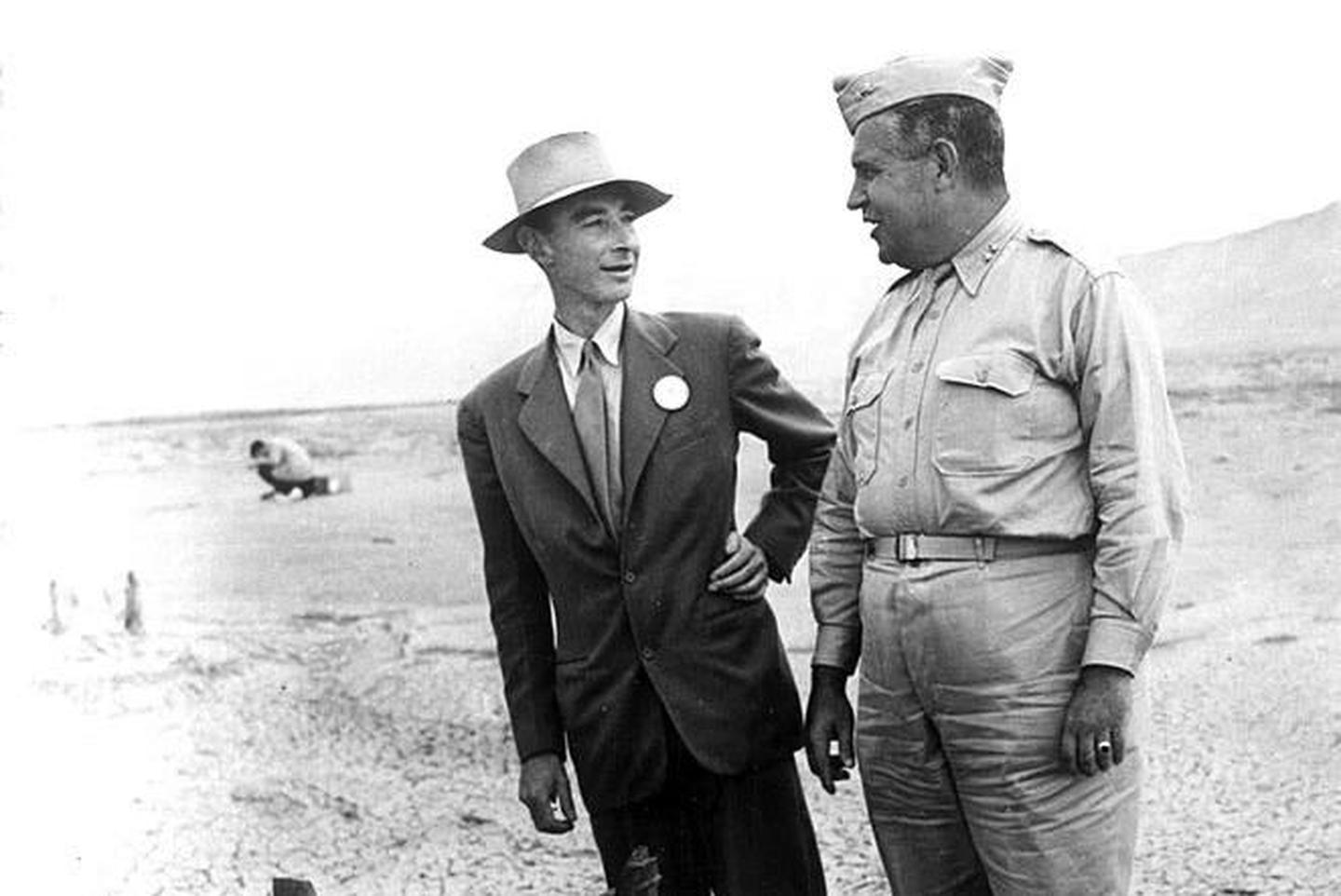 Oppenheimer and Groves at Trinity Test SiteJ. Robert Oppenheimer and Gen. Leslie Groves at the Trinity Test Site.