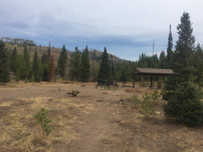 Seedhouse Group SiteSeedhouse Group Site, large open meadow for tent camping, picnic pavilion with multiple picnic table, large fire pit & ring, hand pump, large bear box, and double vault toilet