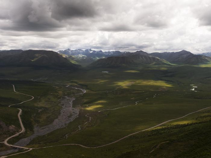 green landscape with a braided  river, mountains, and a roadThe park road travels over braided rivers, with opportunities to view the Alaska Range.