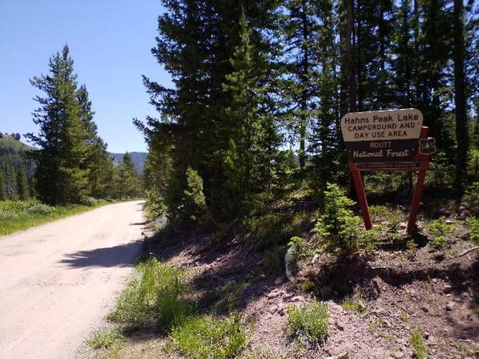 Hahns Peak Lake Campground entrance sign