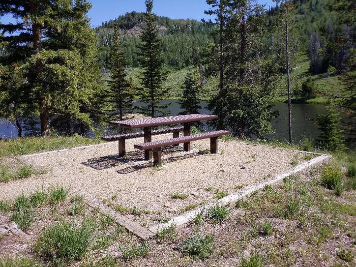 Hahns Peak Lake Day Use picnic table