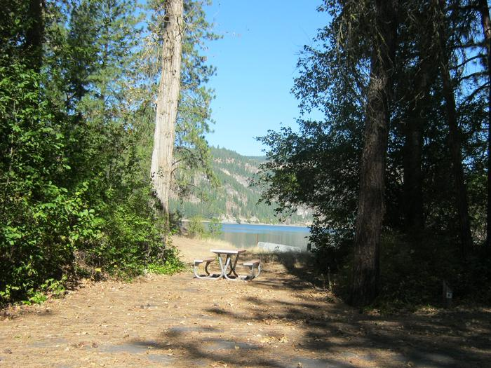 Site 3. Back in. Trees and lake in the background.