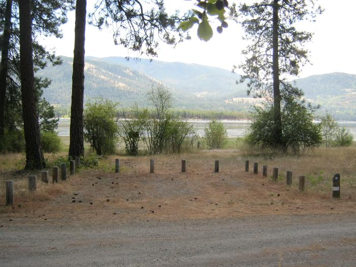 Site 9. Back in. Trees and lake in the background.