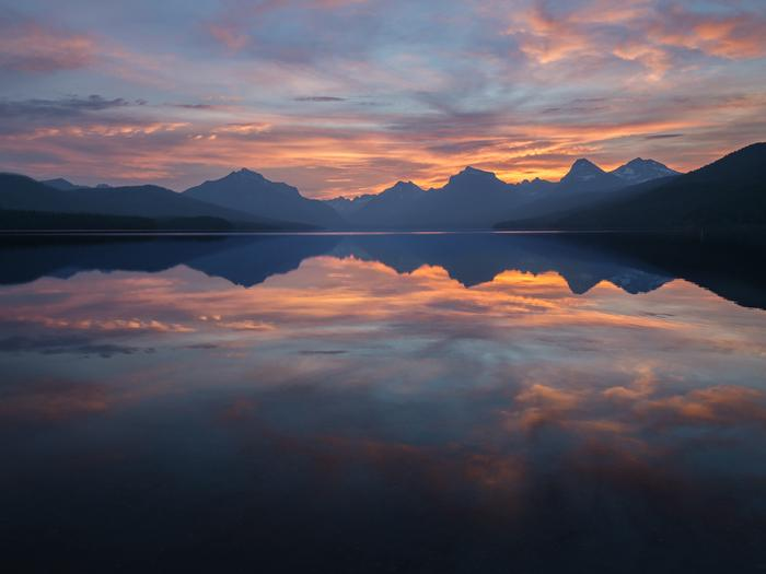 Sunrise over Lake McDonald in Glacier National Park.