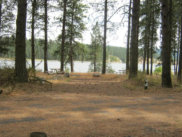 Site 5. Back in with trees and lake in the background.