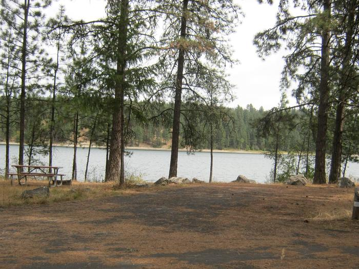 Site 7. Back in with trees and lake in the background.
