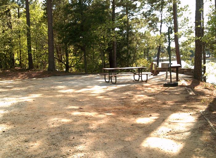 Site 38 Grill, fire ring, picnic table and prep table
