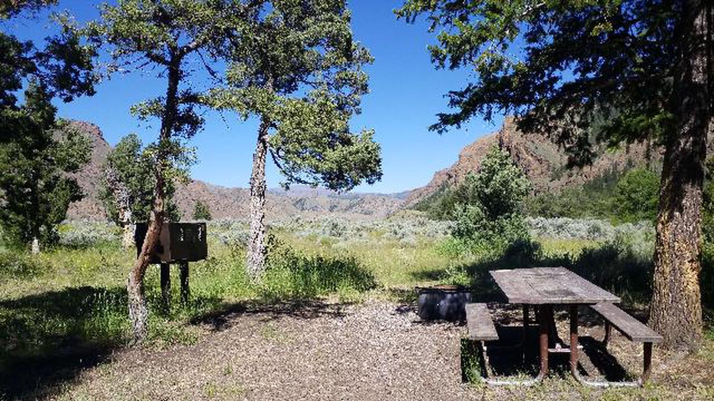 Clearwater Campground site 1 which shows a picnic table and bear box nestled among trees. There are mountains and blue sky in the background.Clearwater Campground Site 1