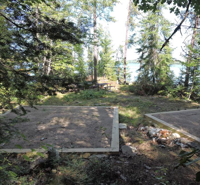 View of S29 Sand Point campsite tent pads and core area