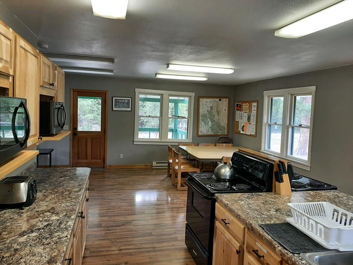 Kitchen and eating area.Bend Cookhouse.
