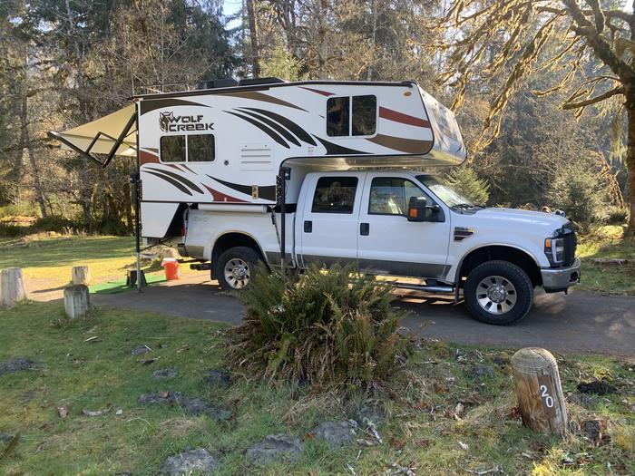 truck camper in campsiteCampsite A 20