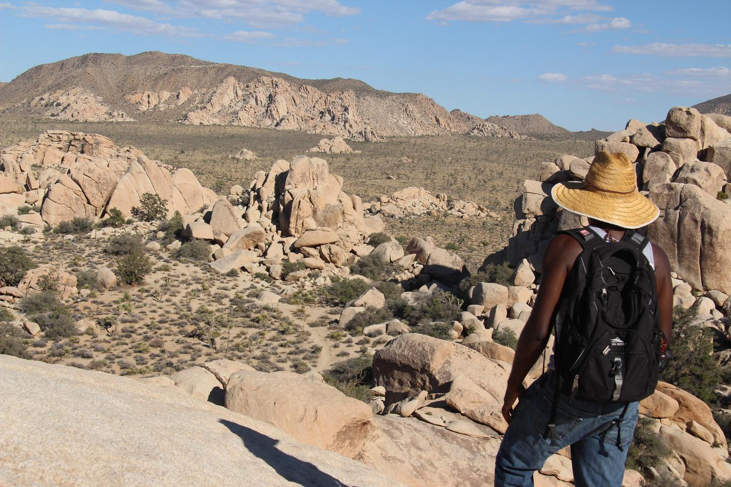 Hidden Valley HikerScrambling to the top of boulders in Joshua Tree can get you a great view.