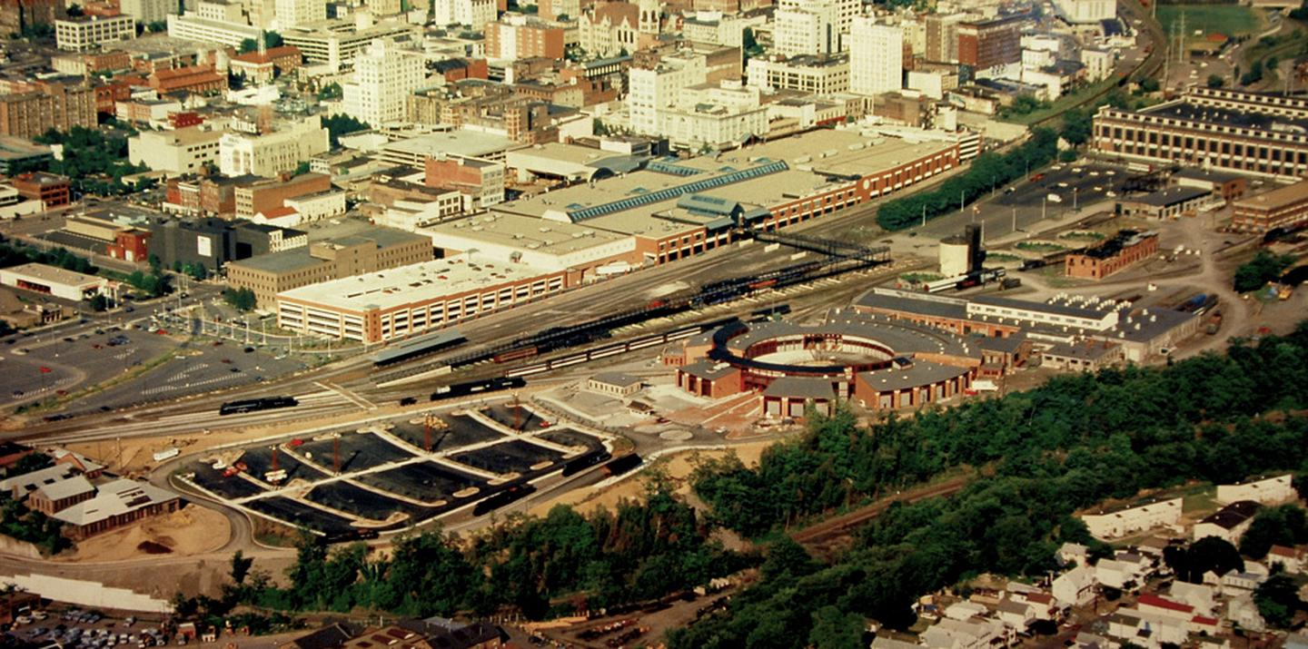 """Steamtown NHS  - aerial overviewThis aerial overview of Steamtown NHS, which was created within the former railyards of the Delaware, Lackawanna & Western """"Scranton Yards"""""""