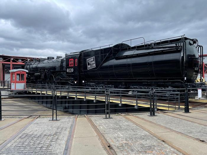 6039 on the turntableNo. 6039 sits on the turntable within Steamtown's Roundhouse complex