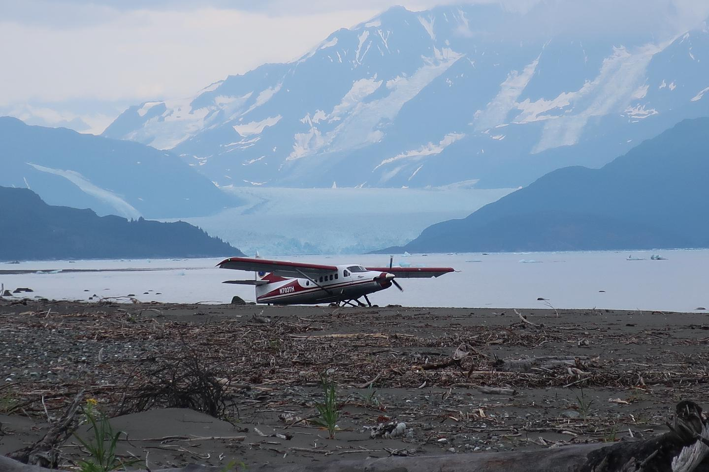 The Yakutat beach plane landing depends on the tide and if there are icebergs on the beach.
