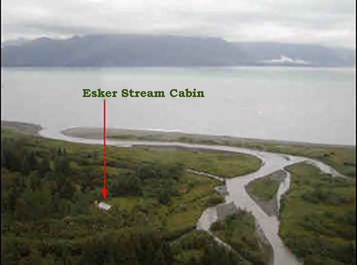 Aerial view of Esker Stream cabin