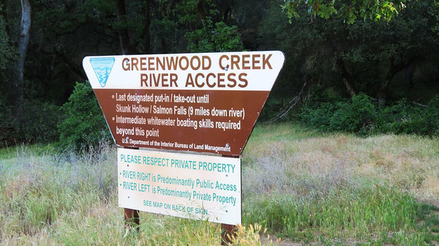 Greenwood Creek River Access BLM SignImage of BLM Greenwood Creek River Access sign.