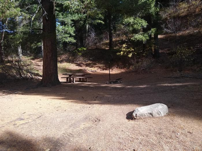 A camping spot with a picnic table, small parking area, and fire ring.A modest camping spot within Hayfork Group Campground.  Please remember that individual sites cannot be reserved.  Hayfork Group Campground can only be reserved as a whole.