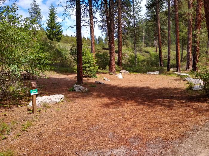 A long parking space leading to a single campsite.Site 4 at Black Rock Campground.