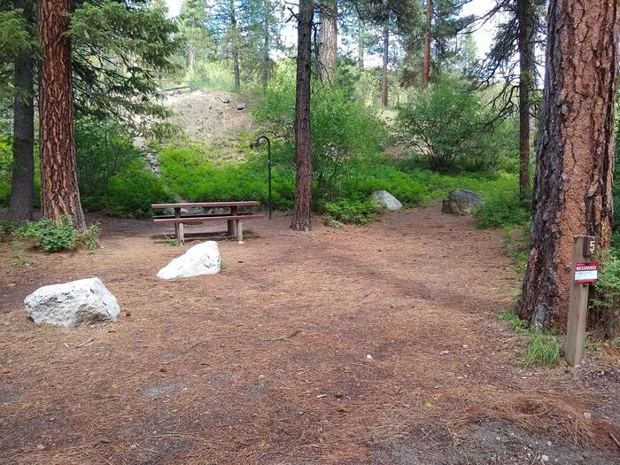 A modest parking spot leading to a single campsite.Site 5 at Black Rock Campground.