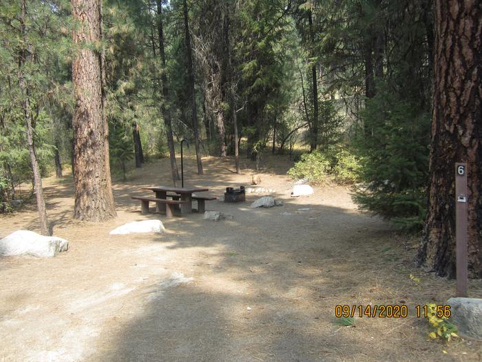 A modest parking spot leading to a campsite.Site 6 at Black Rock Campground.