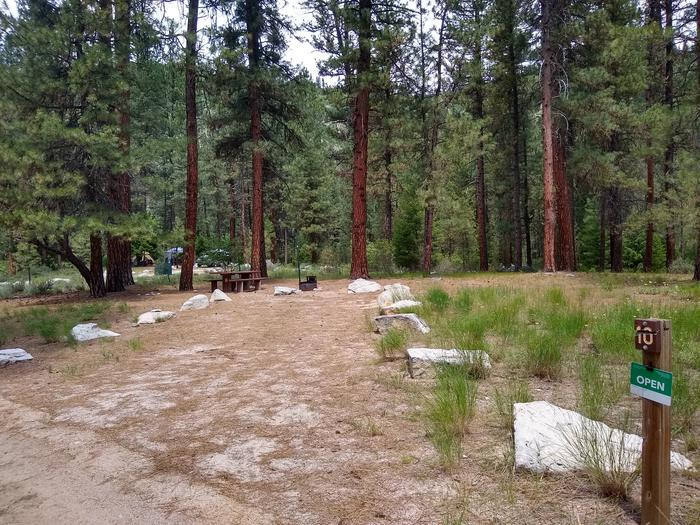 A single campsite with a long driveway.Site 10 is flat, features a long driveway, and is surrounded by trees.